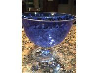 REDUCED FOR QUICK SALE Murano glass blue etched bowl with clear stem and base