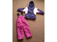 Parallel girls Age 2-3 years snow trousers and jacket pink purple and white