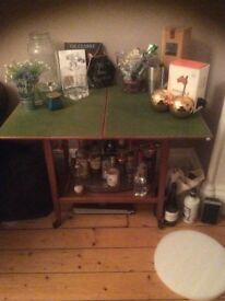 Drinks table/cards table on wheels