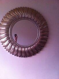 Round gold leaf mirror