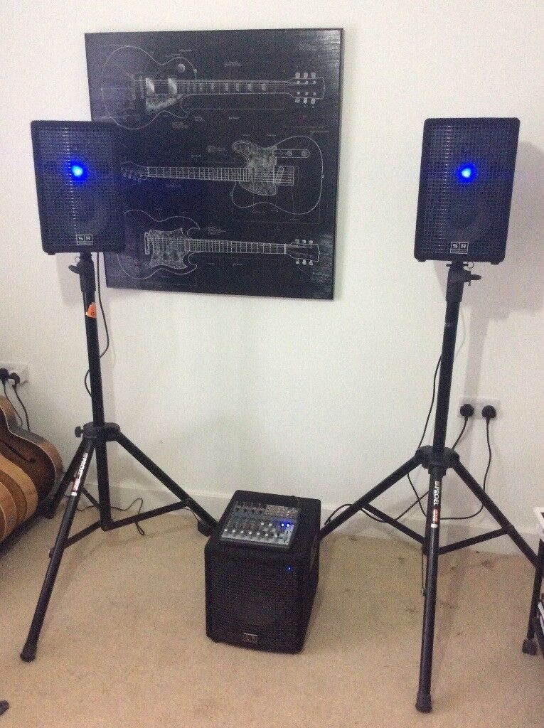 PA system complete. SR Technology Club150A(2), 180A sub woofer, Xenyx mixer plus stands, cables etc.
