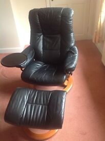 Ekornes Stressless Black Leather Chair and footstool