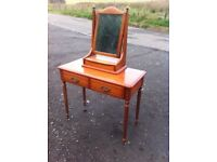 Beautiful solid wood two drawer dressing table with sit on mirror & trinket box