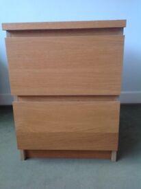 2 drawer storage unit in mid wood veneer (oak)