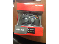 Official black Xbox 360 Wired Controller for Windows PC includes adaptor