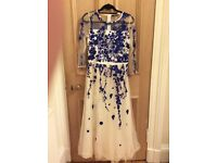 Valentino elie Saab style cream long dress with blue embodiry sequin size 8/10