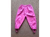 jojo Maman Bebe Girls pocket packaway waterproof pink trousers Age 2-3