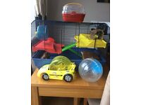 Hamster cage with wheel , house, play log, car and ball