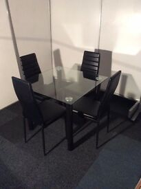 Modern Square Glass Dining Table and 4 Black Leather Chairs