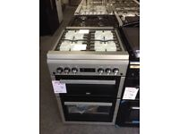 Beko 60cm gas double oven with glass lid. RRP £549 price £349 new/graded 12 month Gtee