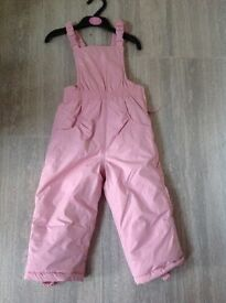 Girls Ski Trousers/ Dungerees 18-24 Months