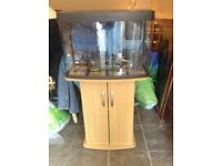 64Ltr FISH TANK WITH CABINET STAND LIGHTS AND DELTA THERM