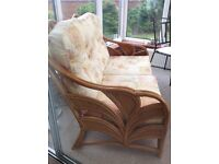 CONSERVATORY SET INCLUDING 2 SEATER SOFA, SWIVEL ROCKING CHAIR, GLASS TOP COFFEE TABLE