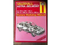 Haynes Workshop Manual For Vauxhall Astra & Belmont 84-88