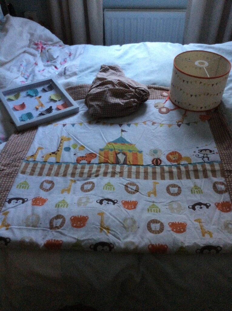 Circus theme Cot bed bedding & extras