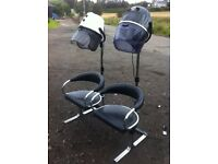 Salon double hood hair dryers and seat unit combination
