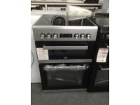 Beko silver 60cm double oven electric cooker. £349. New/graded 12 month gtee