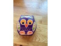 Brand new leather owl money box