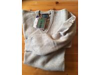 Glenmuir V Neck Lambswool Sweater,Almond,NEW with Tags