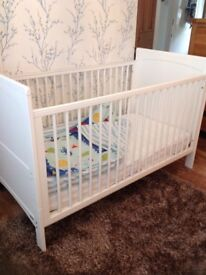 John Lewis cot bed white with sprung mattress