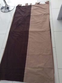 Fully Lined Caramel Coloured Curtains with Brown Detail 5ftx6ft