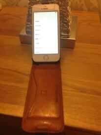iPhone 5s good working order with brown leather snake hive case , box and charger