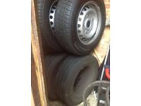 4 TRANSIT CUSTOM WHEELS WITH TYRES,ALL TYRES IN GOOD CONDITION.