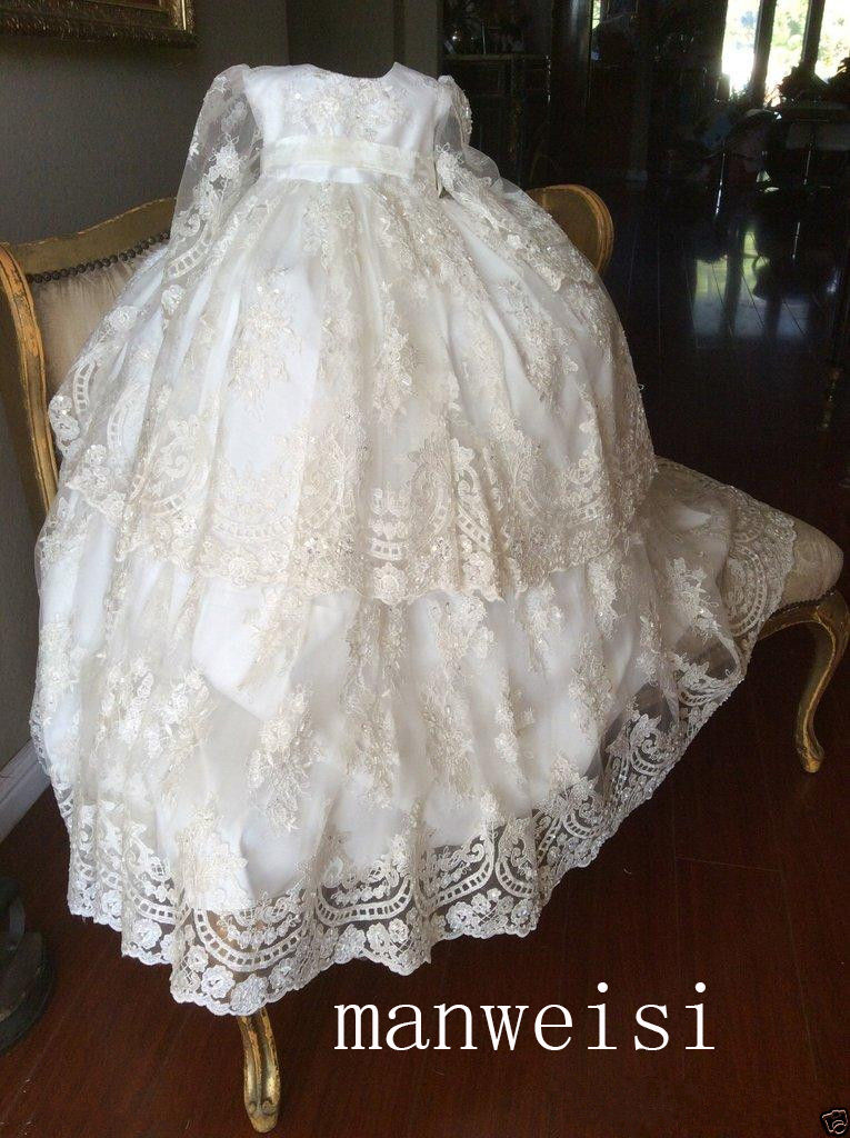 d507693e3ab59 Vintage Christening Gown Long Sleeve Lace Antique Toddler Baby ...