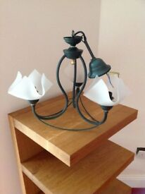 3 Arm Ceiling Light Fittings, Living Room, Lounge, Green Metal Frame, Frosted White Glass Shades