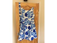 Blue Floral sleeveless Aline dress and belt