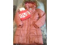 Girls pale pink next jacket age 7/8 with river island bobble hat