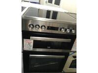 Beko 60cm electric cooker. RRP £493. Stainless steel. Ceramic hob. 12 month Gtee