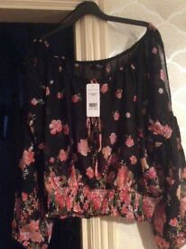Jane Norman size 16 gypsy style flowery blouse - new