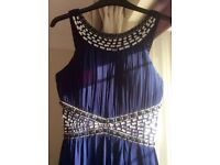 Gorgeous size 10-12 midnight blue pleated and jewelled dress