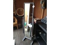 Vintage grey full length mirror on stand shabby chic