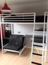 L SHAPED BUNK BED WITH DESK AND FOUTON FOR SALE