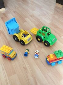 Mega blocks dumper truck& tractor with drivers and 2 other vehicles