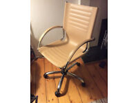 Cream/Tan Leather and Metal Office Chair, £30 ono