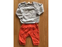 Baby girl outfit, knitted jumper and joggers, 2-6m