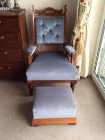 Hand carved Oak Victorian gents chair with footstool
