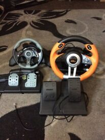 Xbox 360 steering wheel and pedals and Speedlink steering wheel and pedals