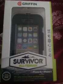iPhone 4/4s case NEW GRIFFIN SURVIVOR all-terrain iPhone 4s + iPhone 4 case only £15 never used