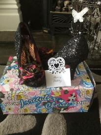 IRREGULAR CHOICE BLACK GLITTER DESIGNER SHOES SIZE 6 MINT CONDITION BOXED