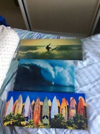 Set of three surfing canvases in great condition