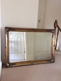 Heavy brass effect mirror - great condition