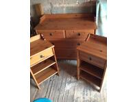 Matching set of drawers and bedside tables