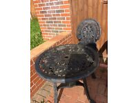 Small black garden table and X1 matching chair