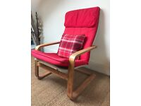 IKEA Red Armchair POANG + cushions