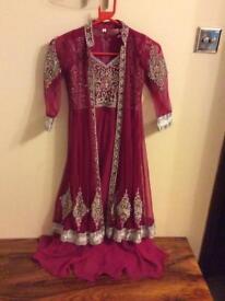 Girls pink anarkali maxi dress size 26