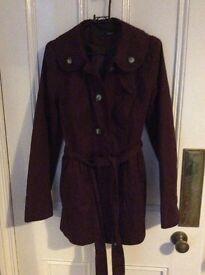 Next mac coat in burgundy size 8
